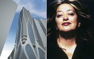 Design of One Thousand Museum and photo of Zaha Hadid