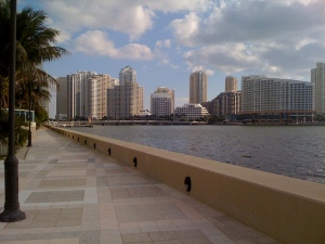 Waterfront walkway in the Brickell area