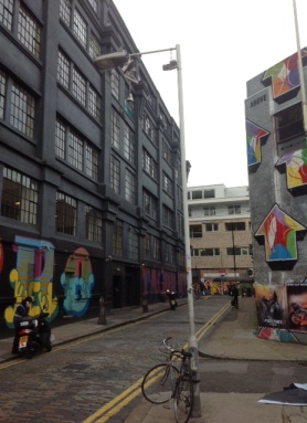 Graffiti painted buildings in the Shoreditch area of London