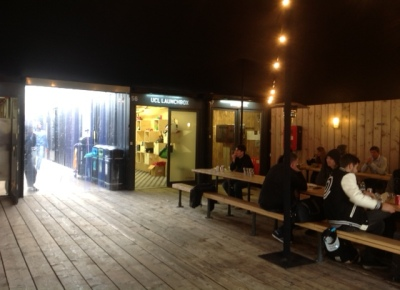 Outdoor gathering place and pop-up shops in Shoreditch