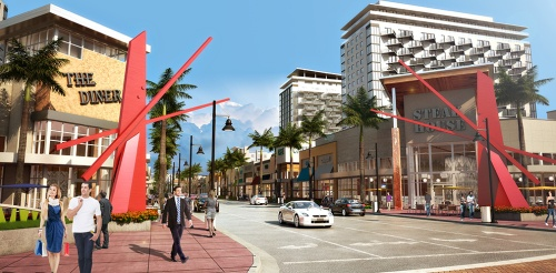 Future sidewalks and shops at Downtown Doral